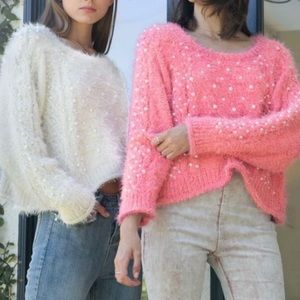 POL Cropped Pearl Detail Fuzzy Sweater Large